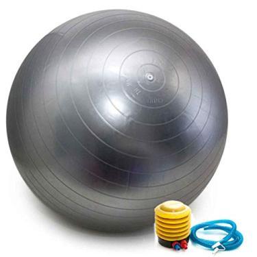 Imagem de Bola Pilates Yoga Abdominal Ginástica Fitness 65 cm C/Bomba PRATA