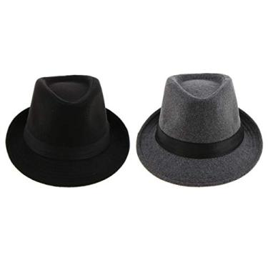 yotijar 2x Chapéu Fedora Masculino Clássico de Aba Estreita Manhattan Gangster Bowler Chapéu Panamá