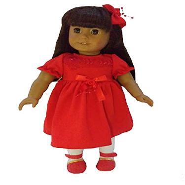 Imagem de Roupa para Boneca - Kit Vestido Vermelho - Veste Bonecas tipo American Girl e Our Generation - Cantinho da Boneca