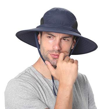SENWAI Chapéu de sol para homens/mulheres, chapéu balde de proteção solar, impermeável, respirável, aba larga, chapéu de praia para pesca, caminhadas, azul-marinho