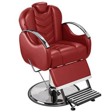 Cadeira de Barbeiro Alfa com Encosto e Apoio de Pé Reclináveis - Pé Cromado - Bordô