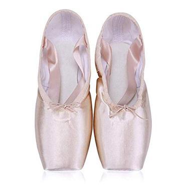 BININBOX Sapatos de balé de lona para meninas Sapatos de ponta de cetim profissionais, rosa, 13 Little Kid