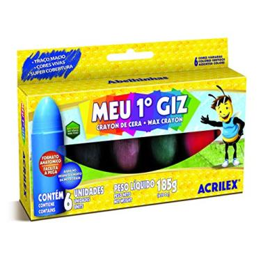 Giz de Cera Meu Primeiro Giz Corpo de Madeira 6 Cores Acrilex