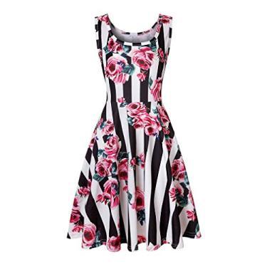 UUYUK Vestido feminino casual sem mangas com gola redonda e estampa floral, Nine, Small