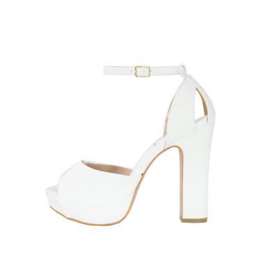 Sandália Salto Grosso Week Shoes Meia Pata New Pele Branco  feminino