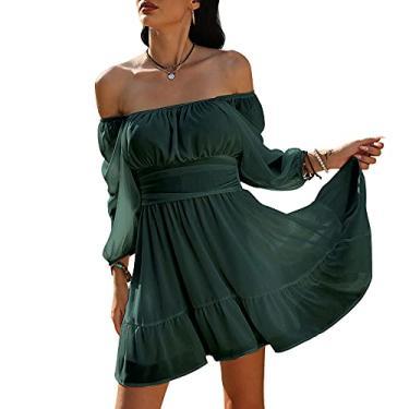 Exlura Minivestido vintage evasê com manga lanterna, laço nas costas, ombros de fora, com babados, Verde escuro, L