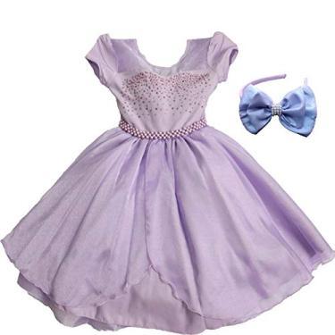 Vestido de Festa Princesa Sofia Luxo Com Tiara EG 13-14