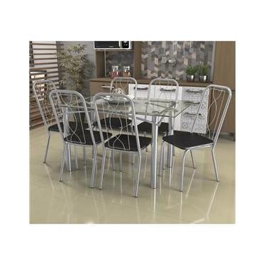 Jogo De Mesa 6 Cadeiras Kappesberg Crome Tampo Vidro Cromado/Preto