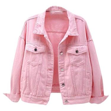 UUYUK Jaqueta jeans feminina plus size ajuste relaxado casual abotoada jaqueta jeans casaco, rosa, X-Large