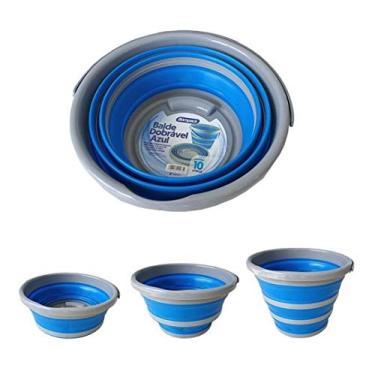 Balde Retrátil Dobrável 10 litros Azul