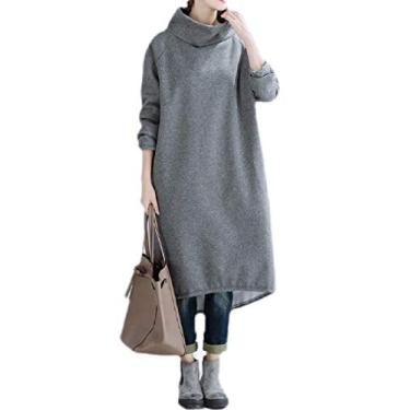 Vestido feminino de manga comprida com gola rolê e comprimento médio da KLJR, Cinza, XL