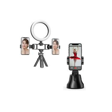 KIt Suporte Multifunções Iluminação+Robô CameraMan 360º Suporte Inteligente Automático Selfie Vlog Make