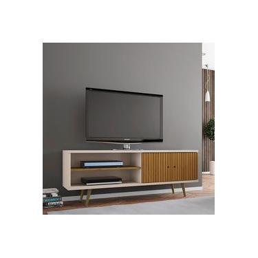 Rack Retrô Ônix para TV até 60 Poleg 2 Portas Off White e Cinamomo 3D Bechara