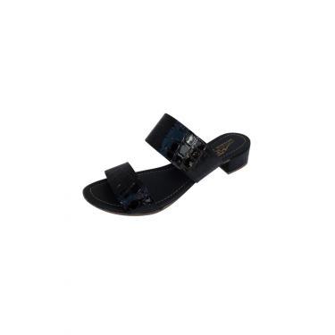 Sandália Tamanco Moda Pé Salto Grosso Baixo 2,5 cm Preto  feminino