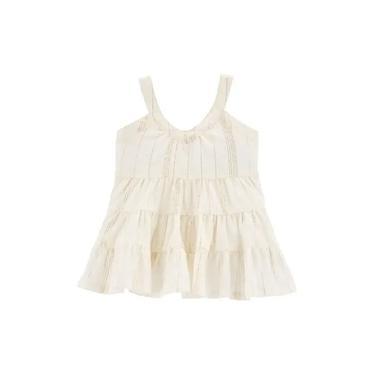 Vestido Infantil Oshkosh Carter's Off-white Com Fios Dourado