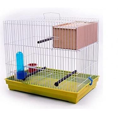 Gaiola Criadeira para Periquito e Pássaros Pequenos Completa com Ninho Amarelo