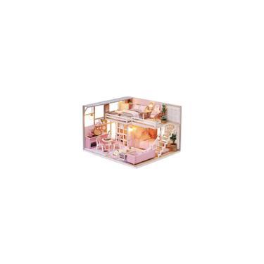 Móveis de casa de boneca em miniatura 3D artesanal Casa de boneca de madeira DIY Dollhouse Kit brinquedos para meninas crianças adulto aniversário presente de Natal