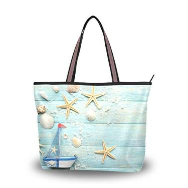 Bolsa feminina My Daily Fashion, bolsa de ombro náutica com estrela do mar grande, Multicoloured, Large