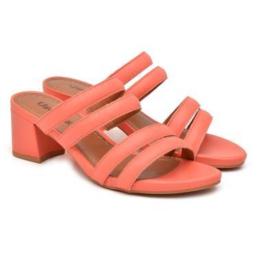 Tamanco Usaflex Feminino Couro Salto Grosso Casual Fashion Coral 36