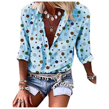 Blusa feminina Zimaes solta casual com botões e estampa floral grande, Light Blue, Large