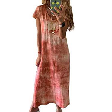 Vestido longo casual de manga curta com decote em V e estampa tie dye, Laranja, S
