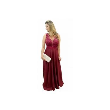Vestido Festa Longo Marsala - Casamento, Madrinha Luxuoso