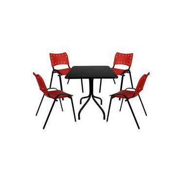 Jogo de Mesa Moema 70x70 com 4 cadeiras Vermelho