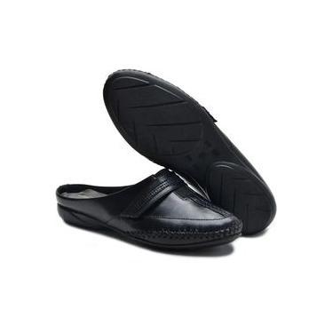 Sapato Mule Babuche Feminino em Couro Legitimo Ana Flex Preto