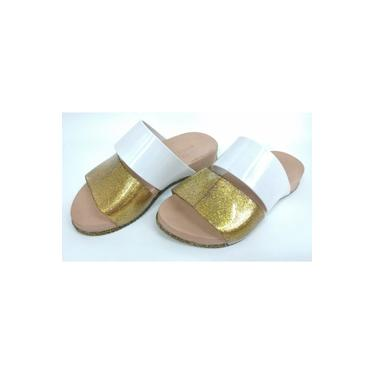 Chinelo Daisy World Colors Glitter Dourado/branco