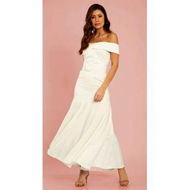 Vestido Casamento Civil Noiva Sereia Ombro a Ombro Classico Retrô Cerimonia Simples Casamento Cartório Pré Wedding com Cinto e Saia Assimétrica (P)