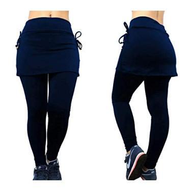 Imagem de Calça Legging Saia Tapa Bumbum Cintura Alta Feminina Plus Size Fitness e Academia Todos os Tamanhos (P, Azul Royal)