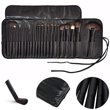 Imagem de Kit de 24 Pincéis Para Maquiagem Profissional com Estojo Preto CBRN10424