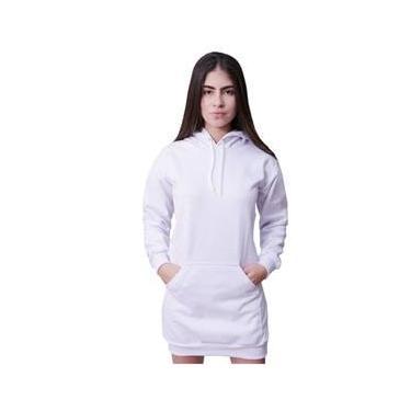 Imagem de Vestido Moletom Feminino Com Bolso E Capuz Branco