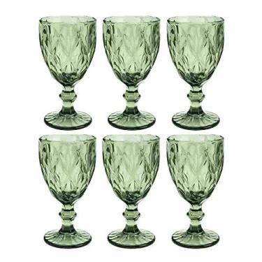Cj 6 Taças P/água De Vidro Diamond Verde 325ml Lyor Verde No Voltagev