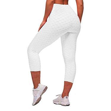 Memoryee Calça legging feminina de cintura alta para ioga, Capris White, XL