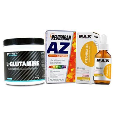 Kit Imunidade Glutamina + Multivitamínico A-Z + Vitamina D 5000UI