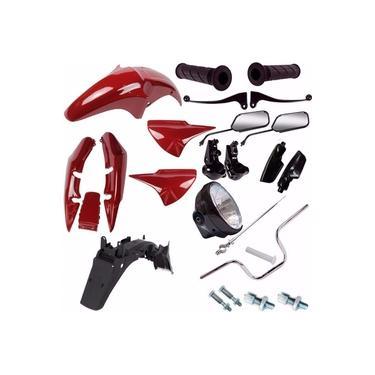 Kit Carenagem + Kit Guidao Farol Cg 150 Titan 2006/2008 Vermelho
