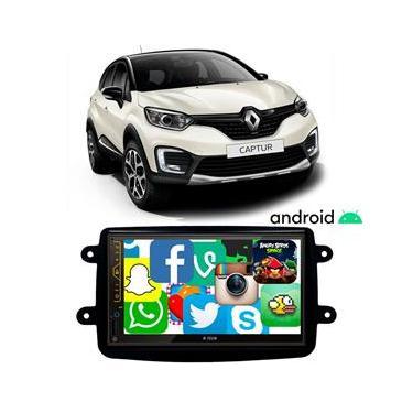 Central Multimídia Renault Captur 2017 a 2021 7 Polegadas Sistema Android GPS BT USB SD FM Aplicativos