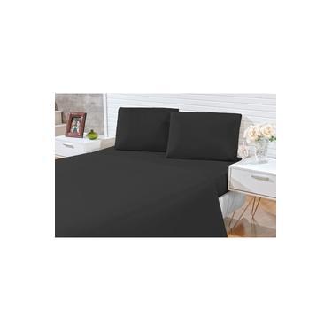 Jogo de lençol Casal Padrão Decora cores lisas 03 peças - microfibra 170 fios - jogo de cama com 2 fronhas cor preto