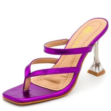 Sandália Tamanco Feminina Salto Taça Cristal Confort Roxo Metalizado  feminino