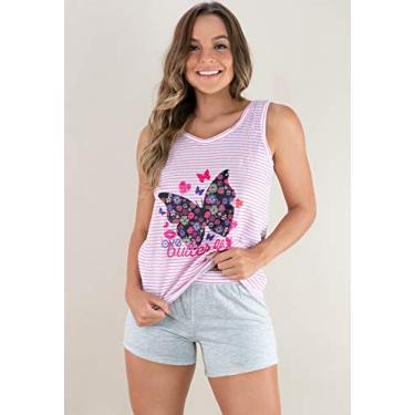 Pijama MVB Modas Adulto Feminino Estampado Shortdoll Cinza