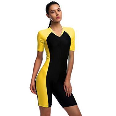 BELLOO Maiô inteiro para mulheres, Amarelo, Large