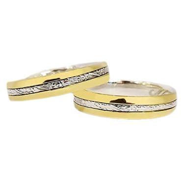 Imagem de Par De Aliança Ouro 18k Bodas De Prata 5mm Casamento