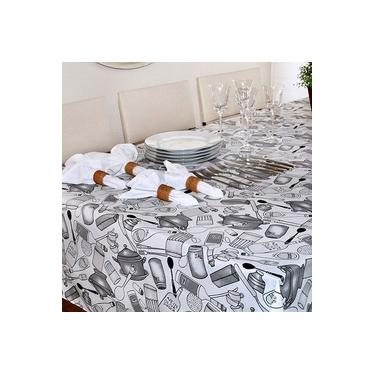 Imagem de Toalha de Mesa Quadrada Impermeavel 160X160 cm Azeite Cinza
