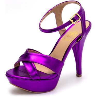 Sandália Tamanco Plataforma Especial Salto Alto Fino Em Roxo Metalizado  feminino