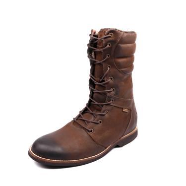 Bota Coturno em Couro Tamanho Grande Shoes Grand Europa Taupe  masculino