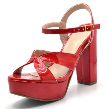Sandália Salto Grosso Verniz Gisela Costa Vermelho  feminino