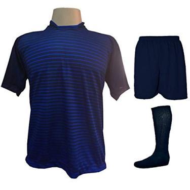 Imagem de Fardamento Completo modelo City 18+2 (18 Camisas Marinho/Royal + 18 Calções Madrid Marinho + 18 Pares de Meiões Marinho + 2 Conjuntos de Goleiro) + Brindes