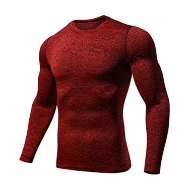 Imagem de Camisetas esportivas masculinas Outto de manga comprida para corrida, camada base de compressão, L119 Red, XX-Large