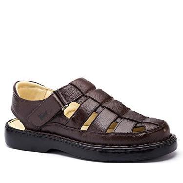 Sandália Masculina 321 em Couro Floater Café Doctor Shoes-38